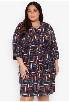 c42fa4d68d Maxine multi Plus Size Shirtdress 3/4 Sleeves With Sash Printed Cotton  Rayon 17FF0AA7077DBBGS_1