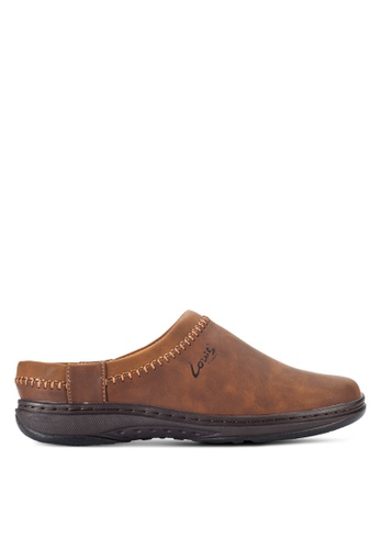 Louis Cuppers brown Stitched Slip Ons LO977SH52RCHMY_1