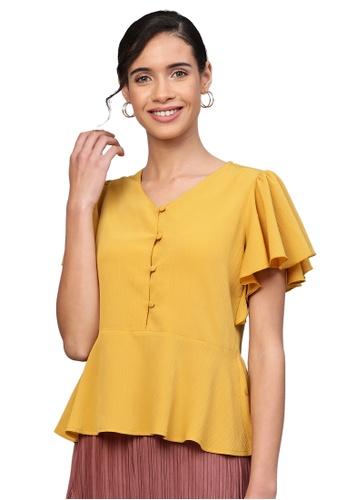 SASSAFRAS yellow Mustard Front Button Peplum Top 83EE0AA6920C50GS_1