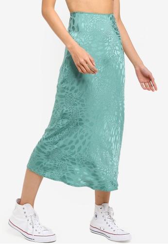TOPSHOP 綠色 動物Jacqaurd Bias 裙 955A2AAE39B735GS_1