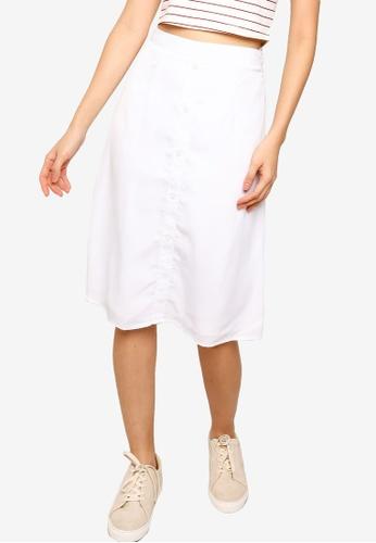 ZALORA BASICS white Button Drape Skirt C89D6AA9890E62GS_1