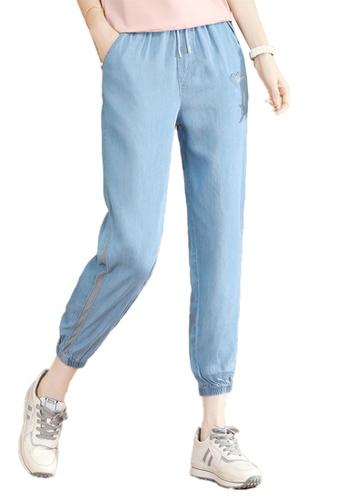 A-IN GIRLS blue Elastic Waist Band Jeans 08080AAB4FF3D3GS_1