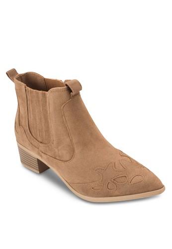 Dundee 壓花低跟西部短esprit 工作靴, 女鞋, 鞋