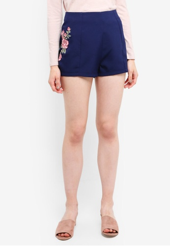 Something Borrowed navy Embroidered Shorts 16358AAD1FE44AGS_1