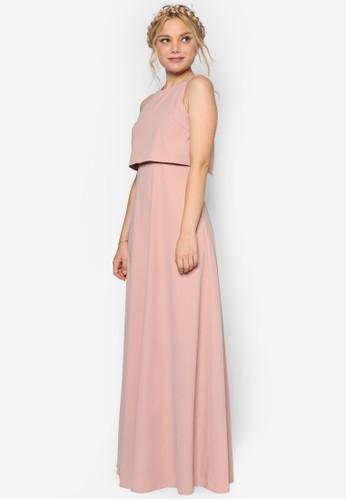 層疊鏤空伴娘esprit taiwan長洋裝, 服飾, 洋裝