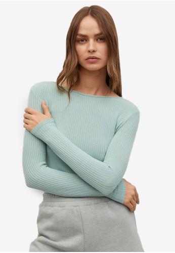Mango green Long Sleeved T-Shirt Back Open 1B64CAAAABC801GS_1