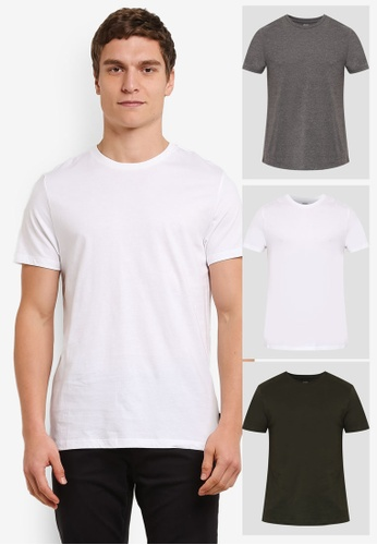 Burton Menswear London white and multi 3 Pack Basic T-Shirts BU964AA0S7EVMY_1
