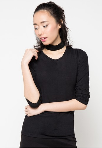 Envy Look black Shoulder Stitch T Shirt EN694AA58CRDID_1