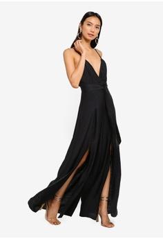 6dfb76efb3c4 INDIKAH Split Hem Slip Jumpsuit With Attached Waist Sash RM 319.00. Sizes 8  10 12
