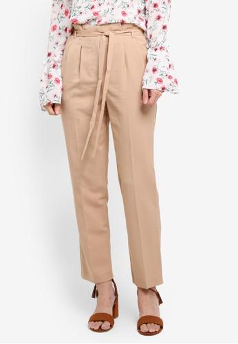 Miss Selfridge beige Camel Paper Bag Trousers FB094AAB741397GS_1