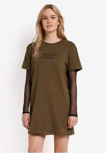 Something Borrowed green Mesh Sleeve T-Shirt Dress 37CABZZ8DC041FGS_1