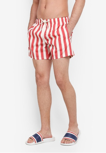 MANGO Man 紅色 抽繩條紋海灘褲 36B41AA4BA4B18GS_1
