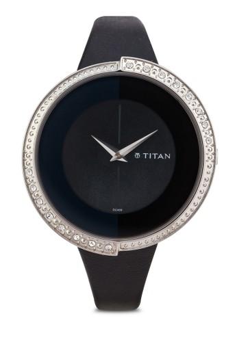 Titan  9943SL01 時尚水鑽皮革錶, 錶類, 飾品配esprit outlet 台中件