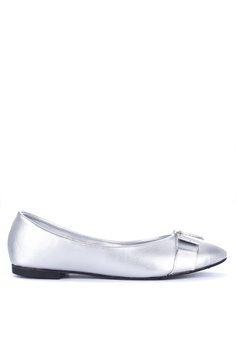 0a420950344b Janylin silver Metallic Pointed Toe Ballet Flats with Ribbon Detail  43DB5SHA1D84CAGS 1