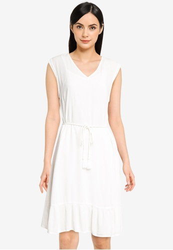 ONLY white Cap Sleeve V-Neck Dress 22C63AAD632672GS_1