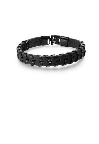 Glamorousky silver Simple Personality Black Woven Leather Bracelet 50C69AC50F3E25GS_1