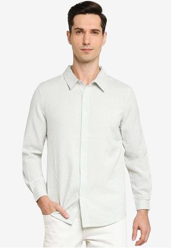 ZALORA BASICS green Seersucker Long Sleeve Collar Shirt B3A5AAA2C5A9BAGS_1