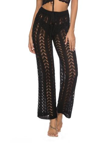 LYCKA black LTH4073-European Style Beach Casual Pants-Black 633AEUSB648289GS_1