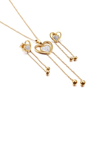 Glamorousky white Fashion and Simple Plated Gold Heart-shaped Tassel 316L Stainless Steel Necklace and Earrings with Cubic Zirconia B72D6AC7D18A8EGS_1
