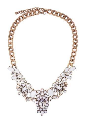 Jaysa Collection white Crystal Extravagance White Jewels Statement Necklace 388D3AC71B69EDGS_1