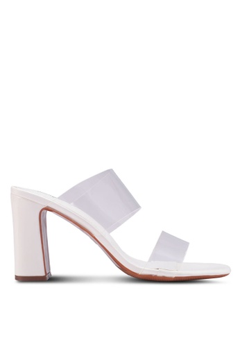 Something Borrowed white Transparent Panels Heeled Mules D1565SH75B918CGS_1
