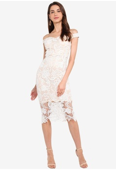 82bb04ce84 MISSGUIDED Lace Bardot Midi Dress S$ 97.90. Sizes 6 8 10 12 14