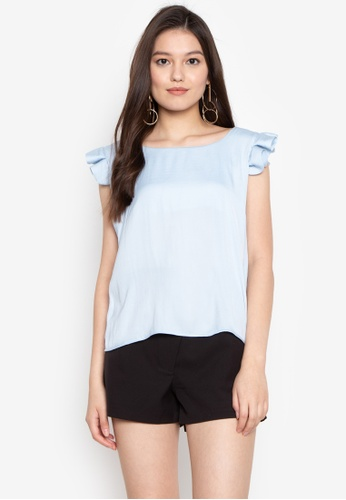 Fablook Clothing blue Ruffles Sleeves Top 76662AA3A6E79EGS_1