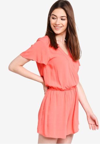 Something Borrowed orange Ruffled Sleeves Wrap Romper 7D740AA5F1F153GS_1