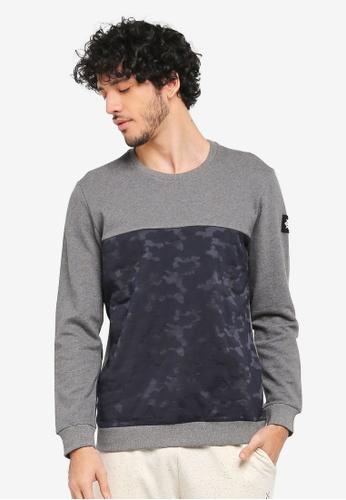JAXON grey and navy Mix Fabric Sweatshirt E73BEAADB86A00GS_1