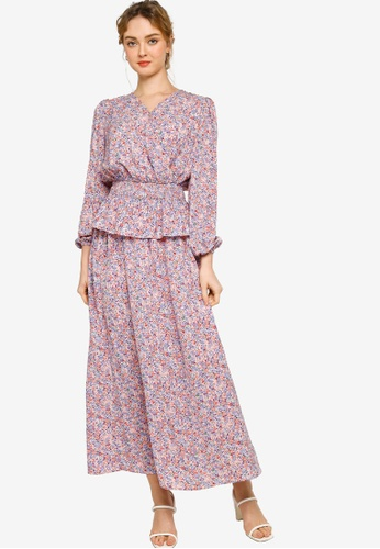 Lubna pink and purple Wrap Shirred Waist Top With Skirt Set 22A07AA2BFDABEGS_1