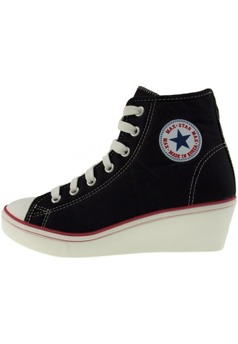 Maxstar Maxstar Women's N7H Zipper Canvas Low Wedge Heel Sneakers US Women Size MA168SH33CBAHK_1