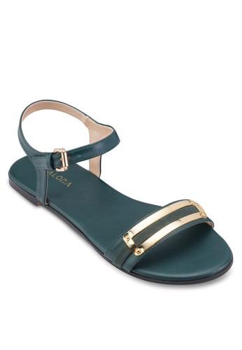 金飾一字帶扣環平底涼鞋、 女鞋、 鞋ZALORA金飾一字帶扣環平底涼鞋最新折價
