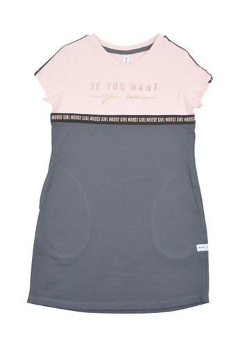 MOOSE GIRL grey and pink Girls Printed Dress 0E32DKA7A68A6BGS_1