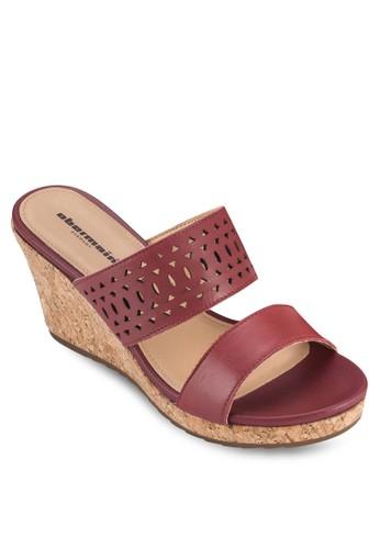 Elsa IV 沖孔雕花楔esprit outlet 桃園型跟涼鞋, 女鞋, 鞋