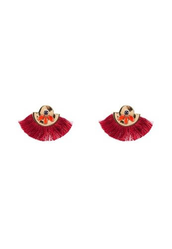 Red's Revenge red Half Moon Disc Fringe Dangle Earrings 50B2AAC41C54C1GS_1