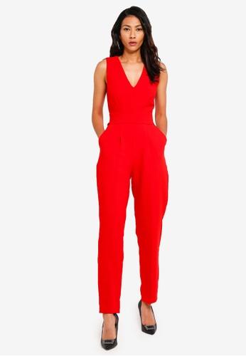 CLOSET red Sleeveless V-Neck Jumpsuit 9D803AA03DC295GS_1