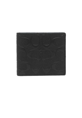 Coach black Coach Mens Coin Wallet In Signature Crossgrain Leather (F75363) Black 084CCACC654B4AGS_1