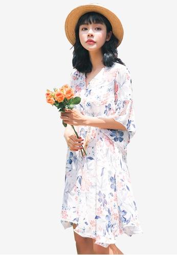 Shopsfashion white Floral Midi Flare Dress A8C87AAECBEF4EGS_1