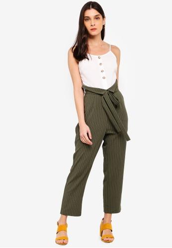 ZALORA white and green Paperbag Jumpsuit 103BDAA0C4E3E0GS_1