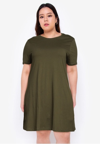 Only CARMAKOMA green Plus Size April Pocket Dress BF113AABCA2C0EGS_1