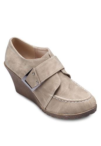 Rhea 魔術貼楔形zalora 順豐踝靴, 女鞋, 鞋