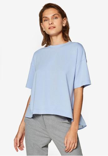 ESPRIT blue Short Sleeve Back Hem Top 8CCC9AAD4E3F05GS_1