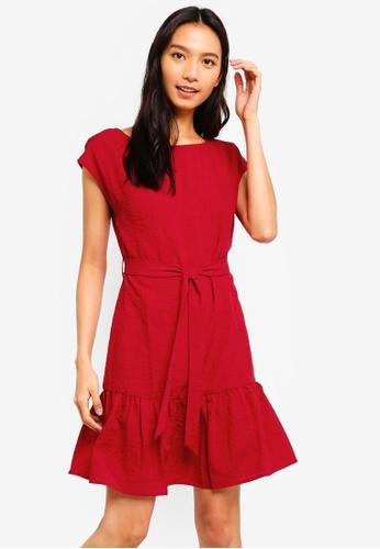 ZALORA red Cap Sleeves Dress DC309AA7C5701BGS_1