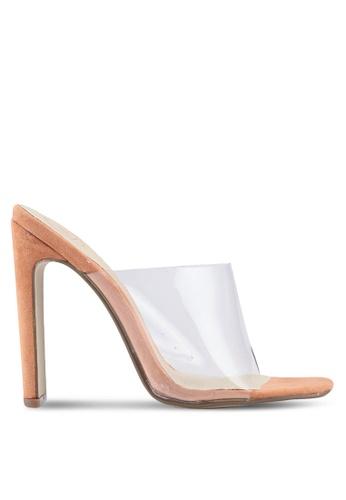 MISSGUIDED 米褐色 方頭透明高跟鞋 2FFB5SHF064087GS_1