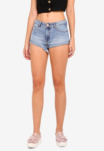 Cotton On blue Mid Rise Saturday Denim Shorts F549EAABAFB66EGS_1