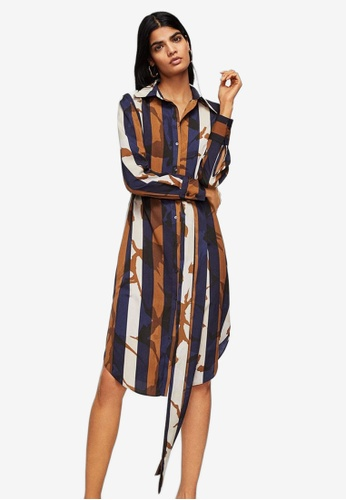 Mango blue Contrasting Print Dress 49BAFAAA8A38DBGS_1