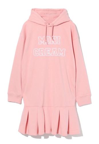Mini cream pink Pleated hem hoodie dress 74379AA68A1BB6GS_1