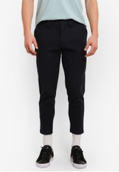 ZALORA black and blue Slim Fit Cropped Brushed Cotton Trousers 45DDCAA80836F0GS_1