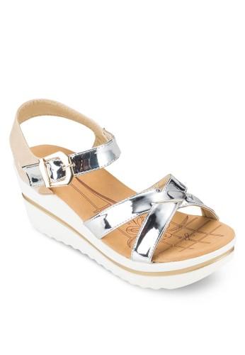 COVETesprit台灣outlet 亮面交叉楔形涼鞋, 女鞋, 鞋
