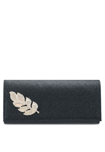 Unisa black Glittering Stones Embellishment Faux Leather Dinner Clutch 70241AC0191F15GS_1